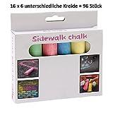 Strassenmalkreide Kinder 96 Stück Kreide 6 verschiedene Farben im Paket Malkreide