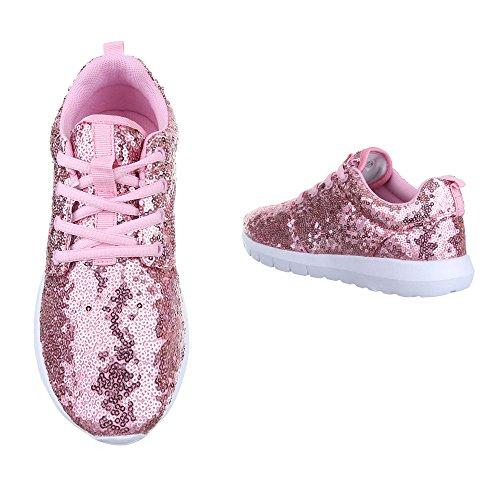 Ital-Design Low-Top Sneaker Damenschuhe Low-Top Sneakers Schnürsenkel Freizeitschuhe Rosa 50-H61007F