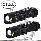LED Taschenlampe, 2 Stück Set SK68 superhell taktische Taschlampe wasserdicht mit 6 Lichtmodi einstellbare Fokus für Wandern,Campen,Sport (schwarz)