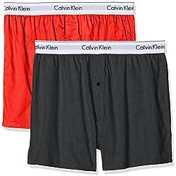 Calvin Klein Boxer Slim 2pk, Multicolore (Charcoal Heather/Marlow Ccq), Small (Lot de 2) Homme