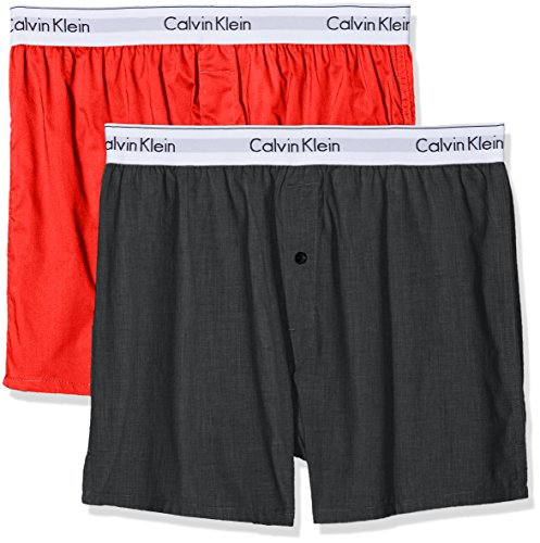 Calvin Klein Herren Boxershorts Boxer Slim 2PK, 2er Pack, Mehrfarbig (Charcoal Heather/Marlow Ccq), Small