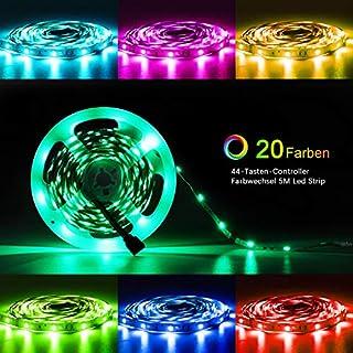 Jayol 5m Led Strip RGB SMD 5050 LED Streifen, 20 Farben, 44-Tasten IR Fernbedienung, 3A Netzteil, Led Stripes fur Deko Party Weihnachten