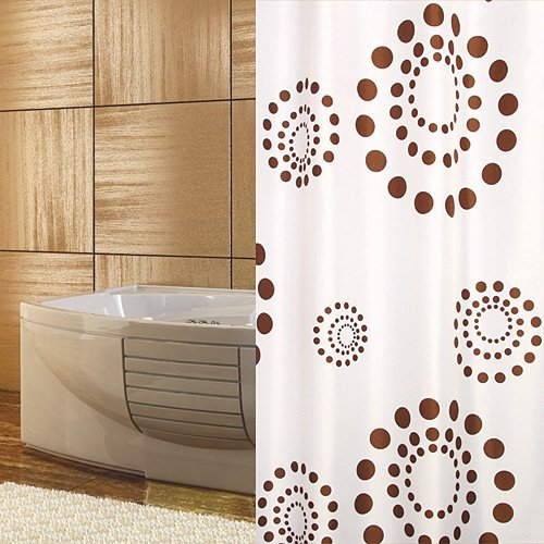 TEXTIL DUSCHVORHANG BRAUN GEPUNKTET WEISS 240 x 180 INKL. RINGE! SHOWER CURTAIN WHITE, LIGHT BROWN! (Weiß Und Braun Duschvorhang)
