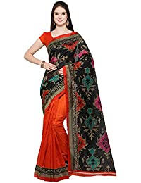 Kimisha Women's Black Cotton Printed Half & Half Saree