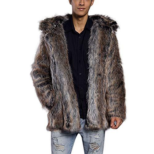 Herren Leopard Warm Pelzkragen Mantel Jacke Faux Fur Parka Braun Outwear Strickjacke Mantel Womens Navy Peacoat