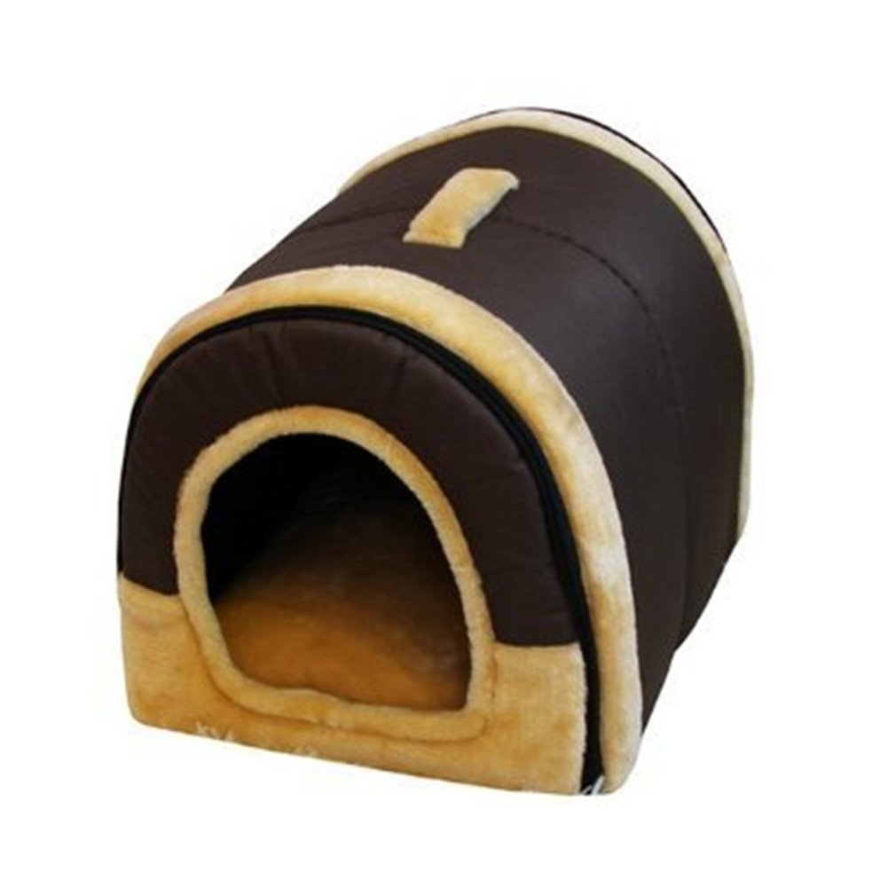 Mixse Cozy 2-in-1 Pet house and Sofa Non-Slip Dog Cat Igloo Beds 3-Size,Brown Small