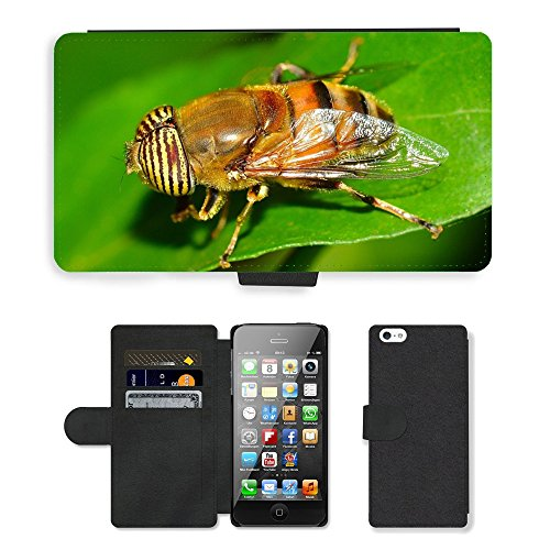 GoGoMobile PU Leather Flip Custodia Protettiva Case Cover per // M00118204 Insectes diptères eristalinus // Apple iPhone 5 5S 5G