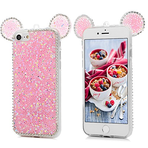 iPhone 7 Cover Silicone 3D Strass Bling Glitter Brillanti, iPhone 8 Custodia Morbida TPU Flessibile Gomma - MAXFE.CO Case Ultra Sottile Cassa Protettiva per iPhone 7 / iPhone 8 - Trasparente Rosa
