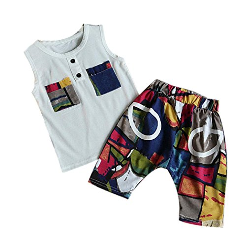 Sommer Kinderkleidung, Bekleidung Longra Baby Kinder Jungen Geometrie Druck Hemd Tops + Shorts Hosen Outfit-Kleidung-Satz (3-7Jahre) (100CM 4Jahre, White)