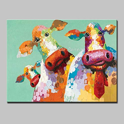 ZLYYH Ölgemälde Auf Leinwand Kunst Hand Bemalte Kuh Ölmalerei Auf Leinwand Pop Art Modernen Abstrakten Wall Art Bild Für Wohnzimmer Eingang, Flur, Schlafzimmer Home Decor, 80×130 cm -