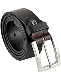 Pierre Cardin Mens leather belt / Mens belt, full grain leather belt, black / brown, Größe / Size:110;Farbe / Color:marron