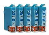 5 Druckerpatronen kompatibel zu Epson T1302 (Cyan) passend für Epson Stylus B42WD BX-525WD BX-535WD BX-625FWD BX-630FW BX-630 BX-635FWD BX-925FWD BX-935FWD SX-525WD SX-535WD SX-620FW WorkForce 525 630 WF-3010DW WF-3500 WF-3520DWF WF-3530DTWF WF-3540DTWF WF-7015 WF-7515 WF-7525