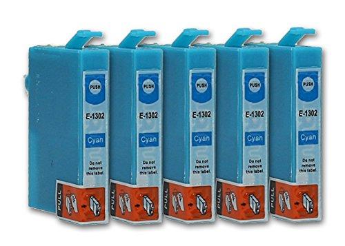 5 Cartuchos de tinta compatible con Epson T1302 (Cian)