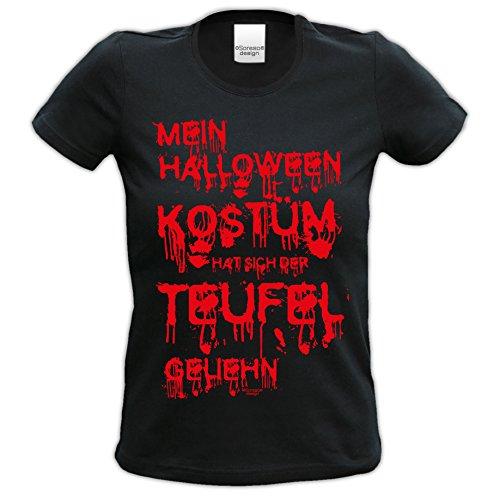 Mein Halloween Kostüm hat sich der Teufel geliehn ::: Tolles Kostüm-Fun-Sprüche-T-Shirt für Mädchen und Damen Party-Outfit-Bekleidung Farbe: schwarz Gr: (Tolle Für Frauen Halloween Kostüme)