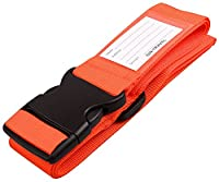 �?? Luggage Strap Suitcase Belt with Personalised Baggage Claim Name Label and Address Tag - Quality Flight Bag Accessories by OW Travel (1 - Bright Orange)