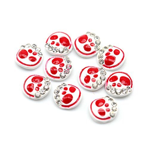 Five Season 10 pcs Decoration Accessoire Nail Art Manucure Dessin Forme Crane, 0.8*0.8cm, Rouge+Blanc
