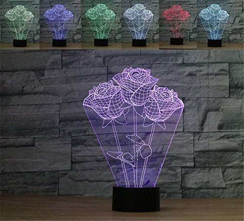 DROHE-Q 3D Nachtlicht Seltsam Bunt Kreativ Geburtstag Geschenk Tischlampe Acryl Energie Sparen Rose (261 * 185 * 87 Mm) - 261 Rose