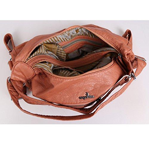 Angelkiss 2 Top Cerniere Chiusura molteplici usi pelle lavata Borse Borse Borse a tracolla zaino borse K15357 Rosa