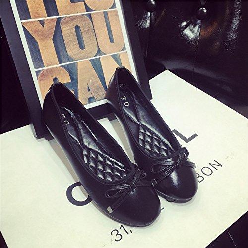 WYMBS Printemps nouvelle télévision quatre saisons ronde bow bow chaussures unique avec télévision bouche peu profonde occasionnels chaussures grande taille, la marque d'une taille plus petite que la  White