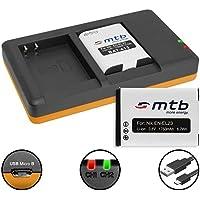 2 Baterías + Cargador doble (USB) para EN-EL23 / Nikon Coolpix B700, P600, P610, P900, S810c - contiene cable micro USB