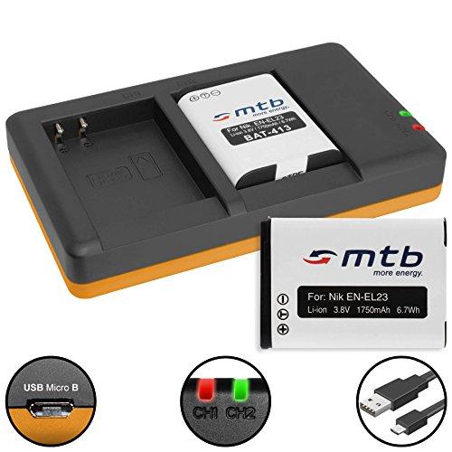 2 Batterie + Caricabatteria doppio (USB) per EN-EL23 / Nikon Coolpix B700, P600, P610, P900, S810c - Cavo USB micro incluso (2 batterie simultaneamente caricabili)