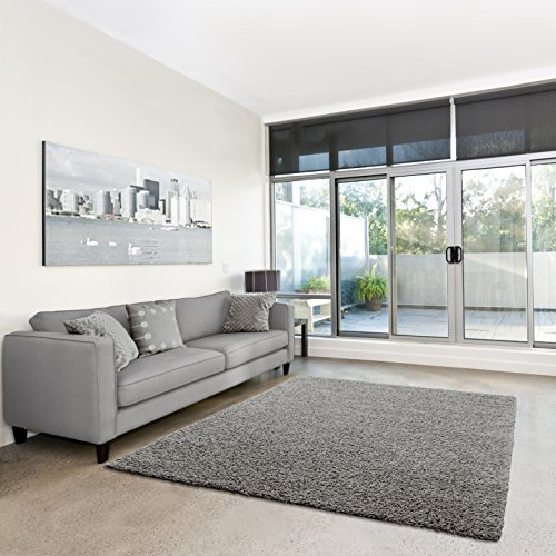 Shaggy-Teppich   Flauschiger Hochflor fürs Wohnzimmer, Schlafzimmer oder Kinderzimmer   einfarbig, schadstoffgeprüft, allergikergeeignet in Farbe: Grau; Größe: Muster