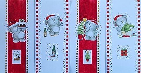 16'Teddy Bear' slim Cartes, cartes de Noël avec enveloppes, 4designs - Slim Jims