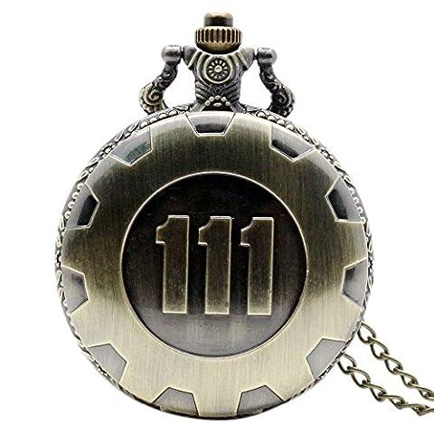 kingstons Rétro Quartz Montre de poche chaîne Fallout 4Thème Pendentif Vault 111Bronze