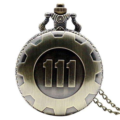 aexu Vintage Kette Quarz Taschenuhr Fallout 4Thema Anhänger Vault 111Bronze
