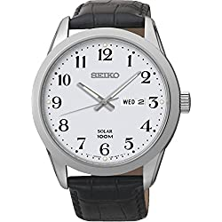 Seiko Men's Quartz Watch Solar SNE371P1 with Leather Strap