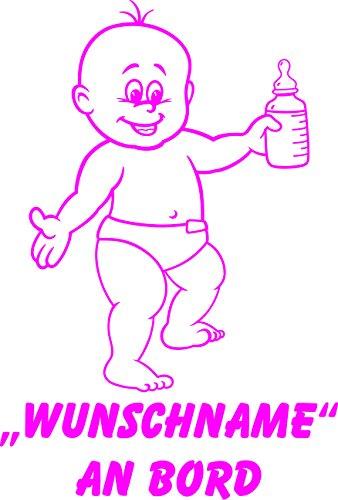 INDIGOS UG - Babyaufkleber / Kinderaufkleber 087 mit Wunschname / Wunschtext an Bord ca. 20 cm Höhe - Autoaufkleber in verschiedenen Farben