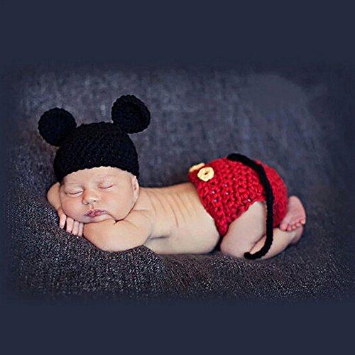 her Crochet Knit Kostüm Fotografie Prop Outfits Baby Kleidung 2Stück ()