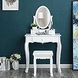 Songmics Tocador Mesa de maquillaje belleza 3 Cajones Espejo oval Taburete acolchado 70 x 40 x 130...