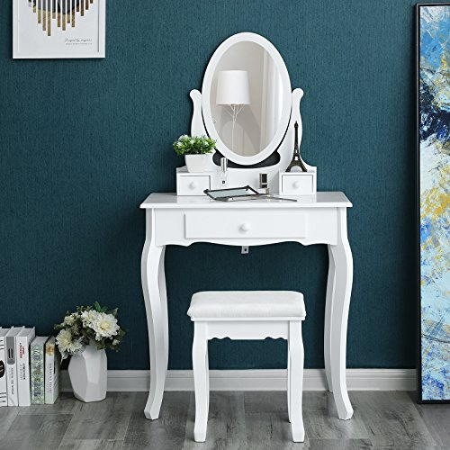 SONGMICS Wall-fixed Dressing Table with Stool and Mirror, 3 Drawers Vanity with 2 divider RDT004