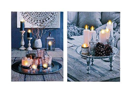 levandeo 2er Set LED Leinwandbilder 30x40cm Kerzen Dekoration mit Beleuchtung