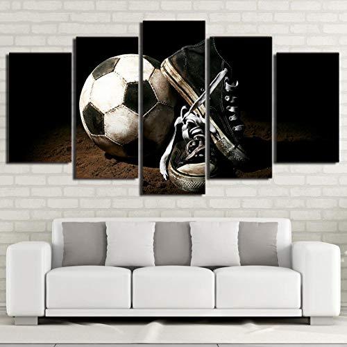 Shopxi Leinwand HD Gemälde-Druck 5 Teile auf Leinwand-Moderne HD Fotorahmen Familie Wohnzimmer Wanddekoration-Fußballschuh Malerei
