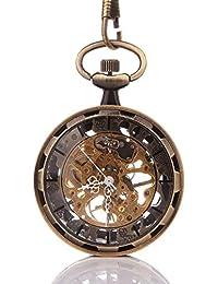 YESURPRISE Retro Handaufzug mechanische Taschenuhr Skelett Uhr Metall mit Etui