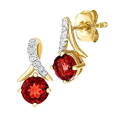 Naava 9ct Yellow Gold Round Garnet and Diamond Twist Drop Earrings of 46cm