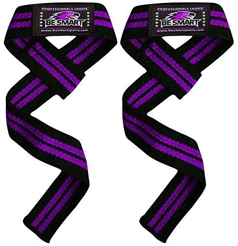 Gepolsterte Gewichtheben Training Gym Gurte Hand Bar Handgelenkstütze Handschuhe Wrap Camo Kostenlose Lieferung UK, violett / schwarz (Violett Camo)