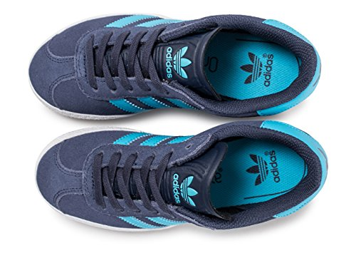 Adidas Originals Trainers - Adidas Originals Gazelle C Shoes - Midnight Grey/Bright Cyan/Gold Metallic Blau