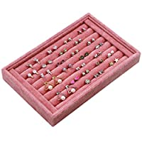 7 Slots Jewelry Accessories Display Storage Box Case Velvet Ring Showcase Holder Earring Set Tray Organiser - 22.5 * 14.5 * 3cm