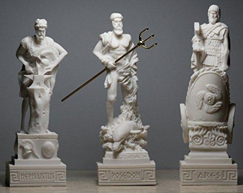 3griechischen Götter Poseidon Ares Hephaestus Statue Skulptur Figur Set -