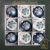 Dekohelden24 Lauschaer - Set di 9 Palline per Albero di Natale in Vetro soffiato, Decorate a Mano, Colore a Scelta Blu/Bianco