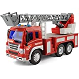 IndusBay Fire Station Fire Rescue Fire Brigade Tower Truck Toys With Extendable Turntable Ladder For Kids With Lights Sounds 1:16 - Fire EngineTruck