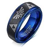 Vnox 8mm Wolframkarbid der Männer die Legende von Zelda Triforce Ring mattiert,schwarz blau