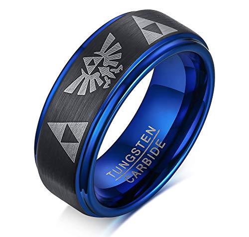 Kostüm Gold Ringe - Vnox 8mm Wolframkarbid der Männer die Legende von Zelda Triforce Ring mattiert,schwarz blau