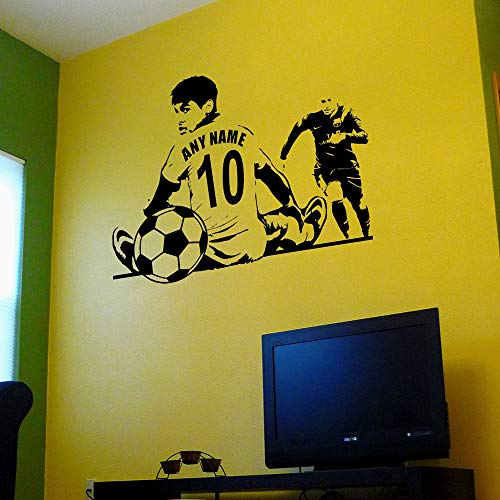 Geiqianjiumai Benutzerdefinierte Name und Nummer Trikot Fußball Wandkunst Applique Vinyl Wanddekoration Aufkleber benutzerdefinierte American Football Spieler Aufkleber schwarz 42x56cm