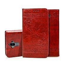 Huawei Mate 9 Hülle, BONROY® PU Ledertasche für Huawei Mate 9 Retro elegant Liebe geprägtes Muster Leder Wallet Klapphülle Cover Tasche Handyhülle Schutzhülle im Bookstyle mit Magnet Kartenfächer Standfunktion - Rot