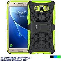 Funda Samsung Galaxy J7 2016, Cáscara Galaxy J7 2016 , Fetrim soporte Proteccion Cáscara Cases delgada de golpes Doble Capa de Tough silicona TPU + plastico Anti Arañazos de Protectora para Samsung Galaxy J7 2016 - Verde