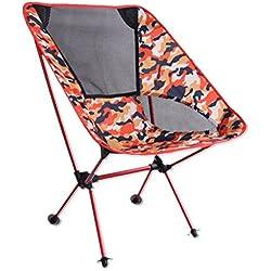 Hony Portátil Silla Plegable Asiento Abatible Camp Plegable Al Aire Libre Ultralight Ligero Aluminio para Cámping Pescar Caza Picnic Viajar Jardín BBQ